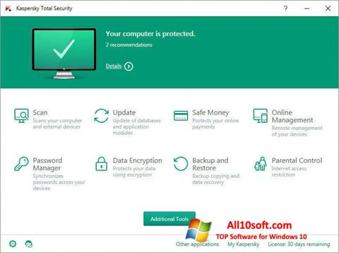 截图 Kaspersky Total Security Windows 10